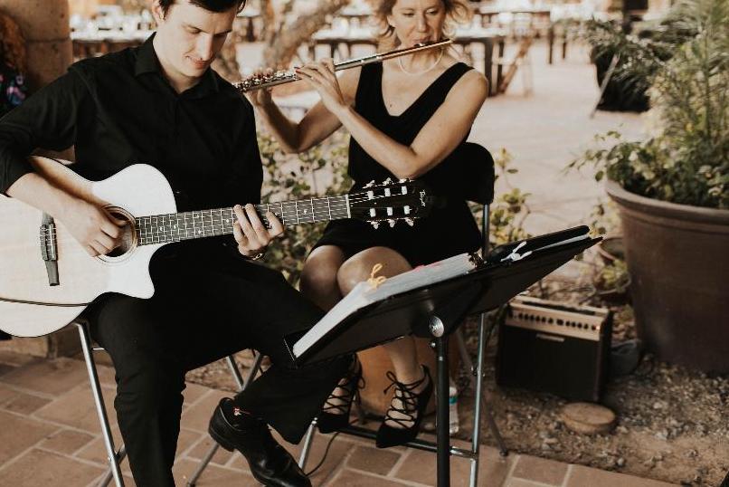 Alex Mack guitar, Laura Strickland, flute Phoenix musicians