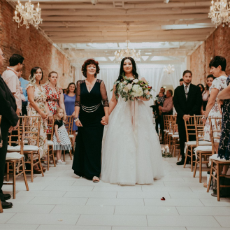 Bride's entrance to live music